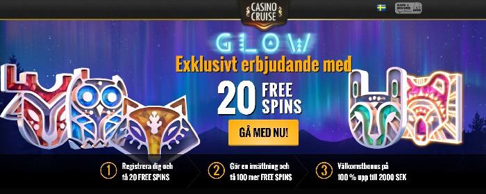 20 gratis spinn hos Casino Cruise i Mars 2016