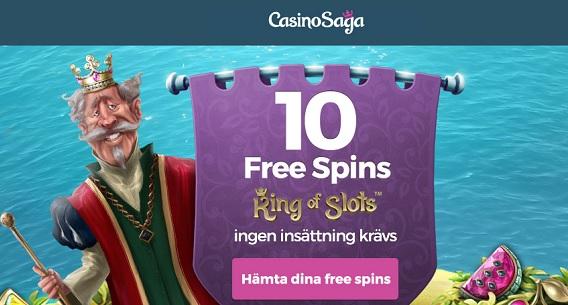 10 gratis spinn på Casino Saga