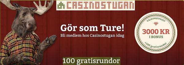 100 gratis spinn från Casinostugan