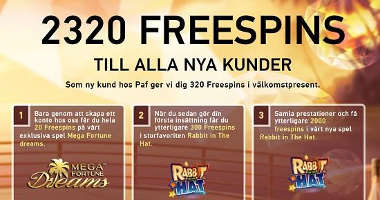 320 gratis spinn på Paf