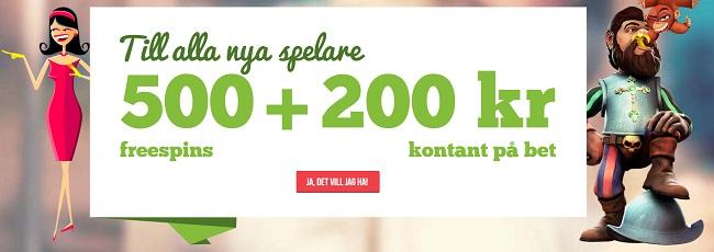 500 free spins och 200 kr gratis odds bonus hos Paf